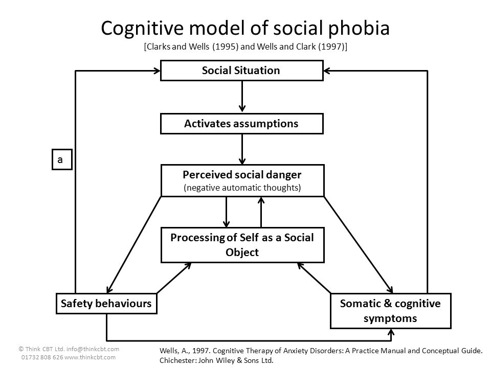Cognitive model of social phobia [Clarks and Wells (1995) and Wells and Clark (1997)]
